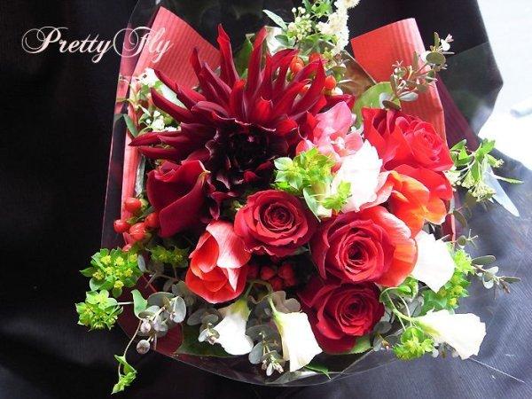 画像1: ブーケタイプ花束-スプリングレッド
