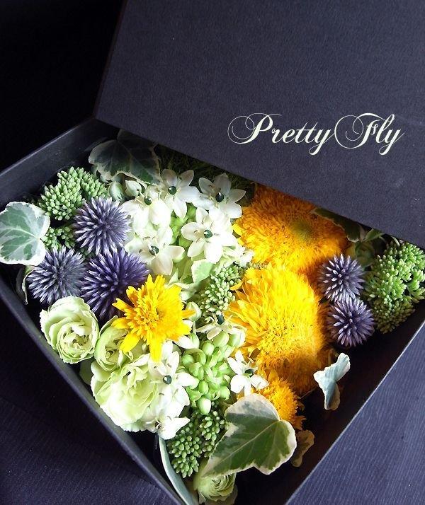 画像2: ボックスフラワーアレンジメント-イエローとグリーンのお花MIX*おまかせBOX
