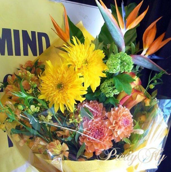 画像4: ロングタイプ花束-ストレチア極楽花◆おまかせオレンジ〜イエロー