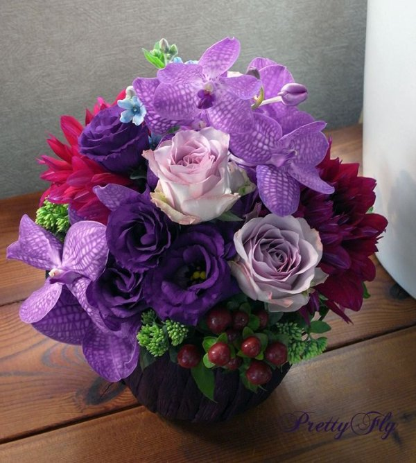 画像3: 【アレンジメント】紫のバラ&バンダアレンジメント〜NoblePurple(ノーブルパープル)-DX60