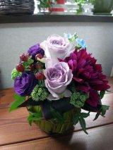 【アレンジメント】紫のバラ&ダリアアレンジメント〜NoblePurple(ノーブルパープル)-Mサイズ