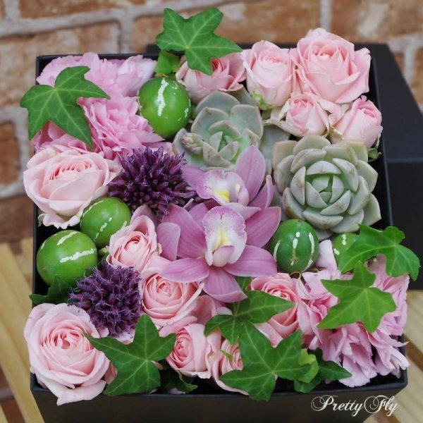 画像5: 【ボックスフラワーLサイズ】-Succulent多肉&Flower花 ピンク