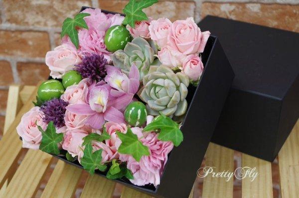 画像3: 【ボックスフラワーLサイズ】-Succulent多肉&Flower花 ピンク