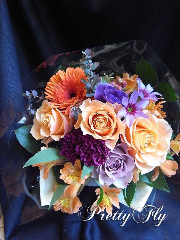 画像1: 【ブーケタイプ花束】Orange mind-オレンジ&パープルブーケ50