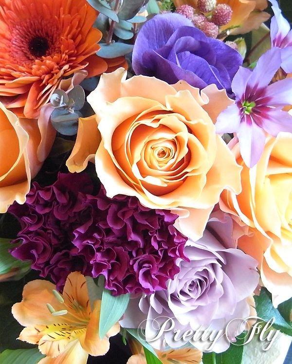 画像3: 【ブーケタイプ花束】Orange mind-オレンジ&パープルブーケ50