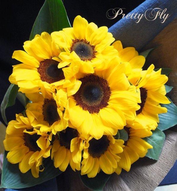 画像1: 【一種の花で束ねるシンプルブーケ】OnlySunflower〜ひまわりの花束