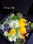 画像3: ボックスフラワーアレンジメント-イエローとグリーンのお花MIX*おまかせBOX (3)