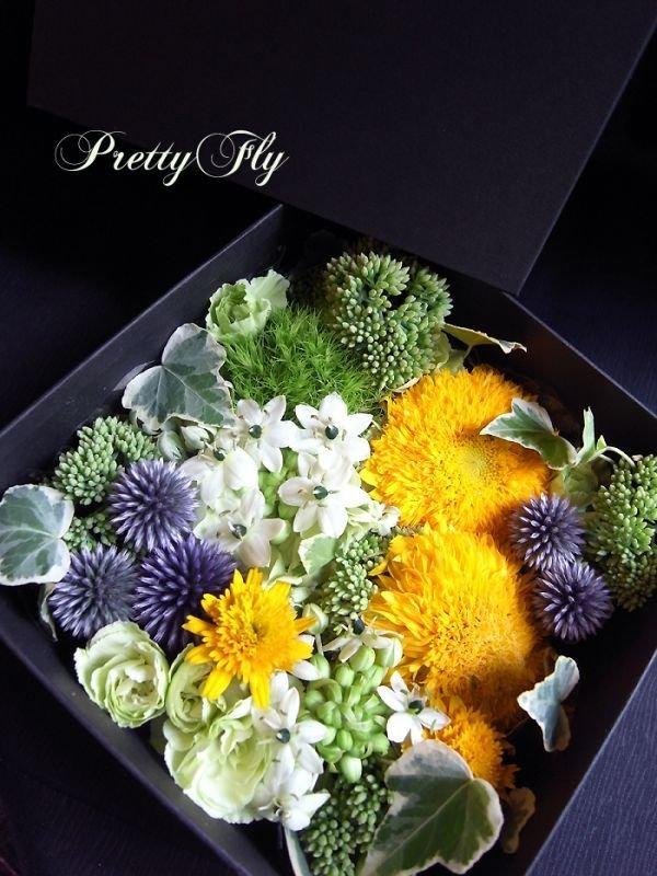 画像3: ボックスフラワーアレンジメント-イエローとグリーンのお花MIX*おまかせBOX