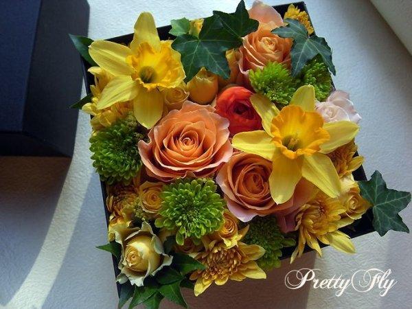 画像4: ボックスフラワーアレンジメント-イエローとグリーンのお花MIX*おまかせBOX