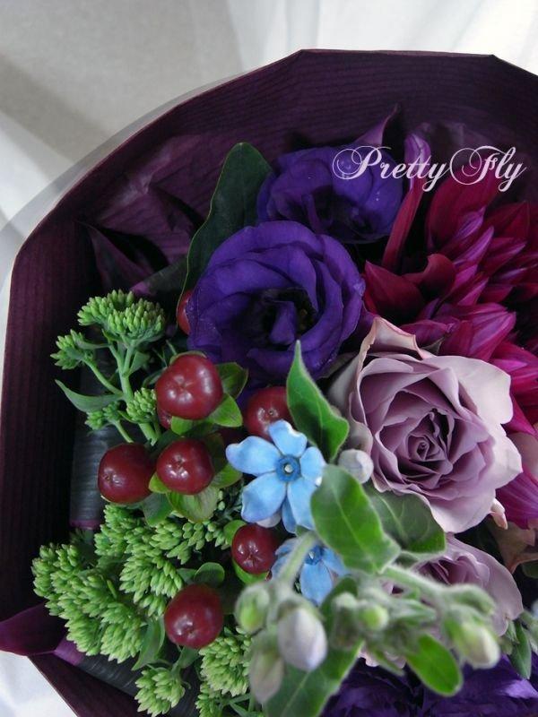 画像2: 【紫の花束】紫のバラ&ダリアの花束nobleーPurple(ノーブルパープル)