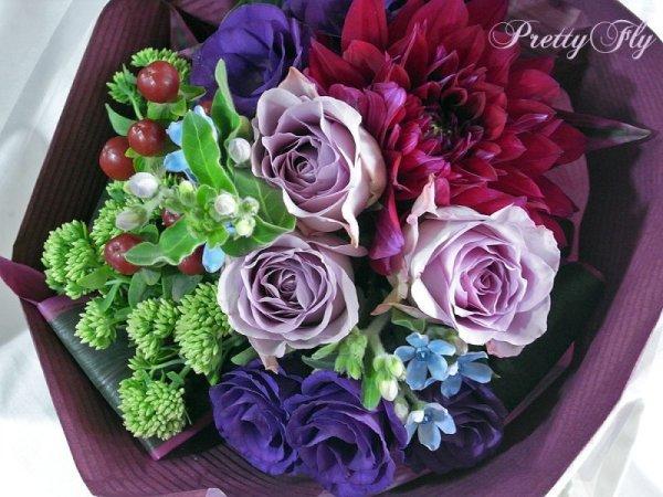 画像4: 【紫の花束】紫のバラ&ダリアの花束nobleーPurple(ノーブルパープル)