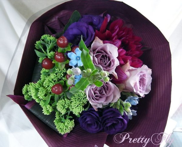 画像1: 【紫の花束】紫のバラ&ダリアの花束nobleーPurple(ノーブルパープル)