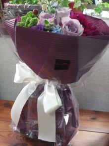 他の写真2: 【紫の花束】紫のバラ&ダリアの花束nobleーPurple(ノーブルパープル)