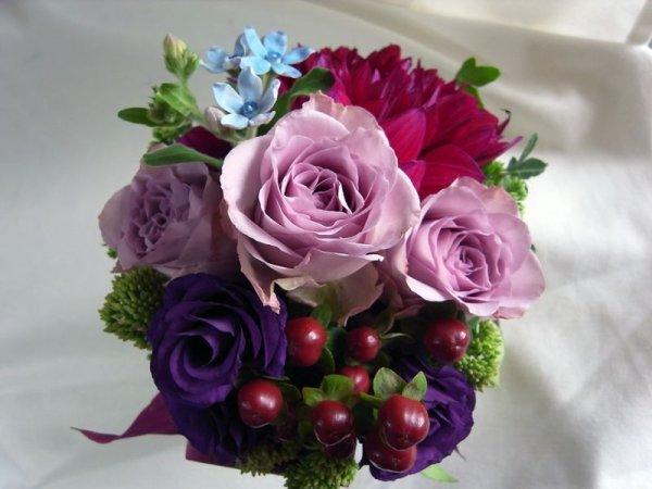 画像3: 【アレンジメント】紫のバラ&ダリアアレンジメント〜NoblePurple(ノーブルパープル)-Mサイズ