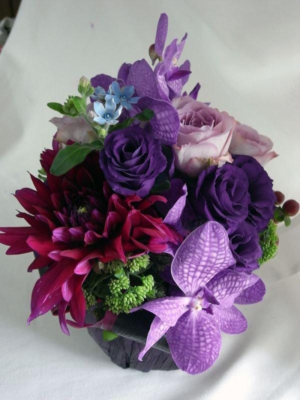 画像4: 【アレンジメント】紫のバラ&バンダアレンジメント〜NoblePurple(ノーブルパープル)-DX60