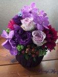 画像1: 【アレンジメント】紫のバラ&バンダアレンジメント〜NoblePurple(ノーブルパープル)-DX60 (1)