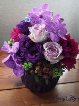 【アレンジメント】紫のバラ&バンダアレンジメント〜NoblePurple(ノーブルパープル)-DX60