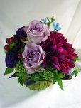 画像2: 【アレンジメント】紫のバラ&ダリアアレンジメント〜NoblePurple(ノーブルパープル)-Mサイズ (2)