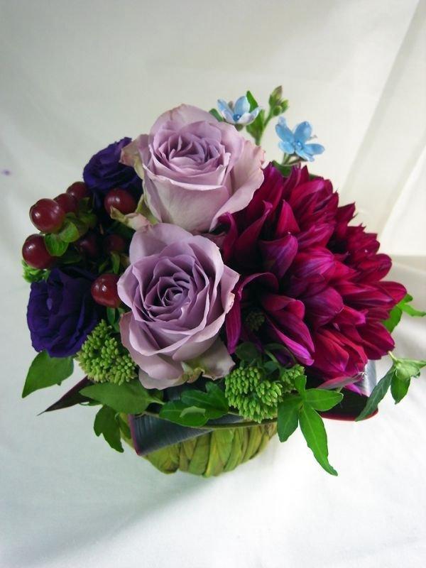 画像2: 【アレンジメント】紫のバラ&ダリアアレンジメント〜NoblePurple(ノーブルパープル)-Mサイズ