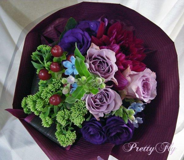 画像3: 【紫の花束】紫のバラ&ダリアの花束nobleーPurple(ノーブルパープル)