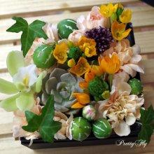 他の写真2: 【ボックスフラワーSサイズ】-Succulent多肉&Flower花 オレンジ