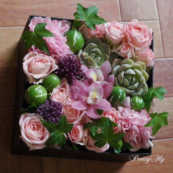 画像1: 【ボックスフラワーLサイズ】-Succulent多肉&Flower花 ピンク