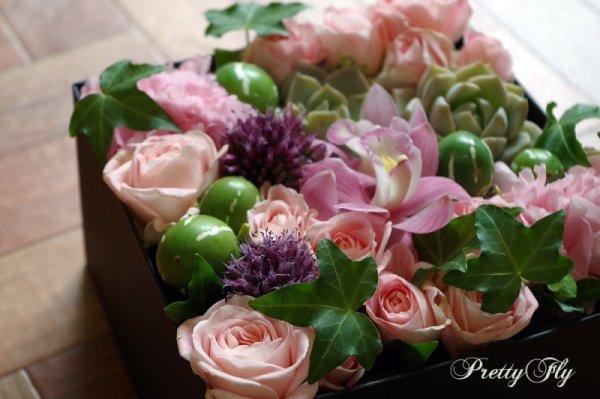 画像2: 【ボックスフラワーLサイズ】-Succulent多肉&Flower花 ピンク