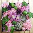 画像4: 【ボックスフラワーLサイズ】-Succulent多肉&Flower花 ピンク (4)