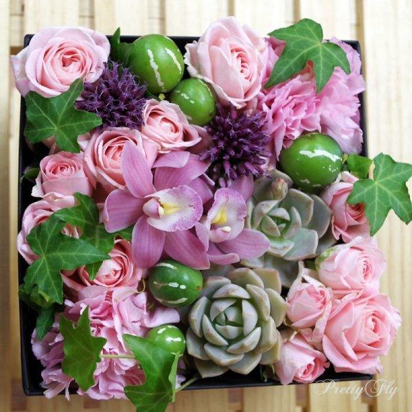 画像4: 【ボックスフラワーLサイズ】-Succulent多肉&Flower花 ピンク