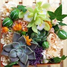 他の写真2: 【ボックスフラワーLサイズ】-Succulent多肉&Flower花 オレンジ