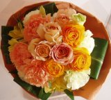 ブーケタイプ花束-オレンジミルフィーユ