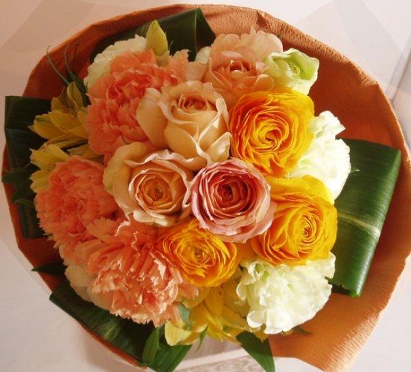 画像1: ブーケタイプ花束-オレンジミルフィーユ