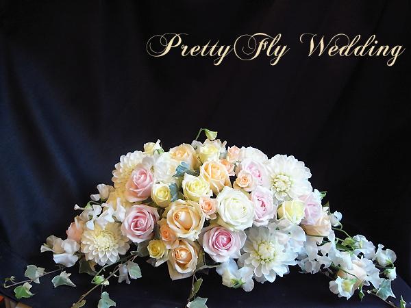 結婚式会場装花 メインテーブル装花 オールシーズン挙式 フェミニン
